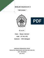 "Makalah Kalkulus II ""Integral"" Oleh, MANSUR AMRIATUL (07 241 075)"