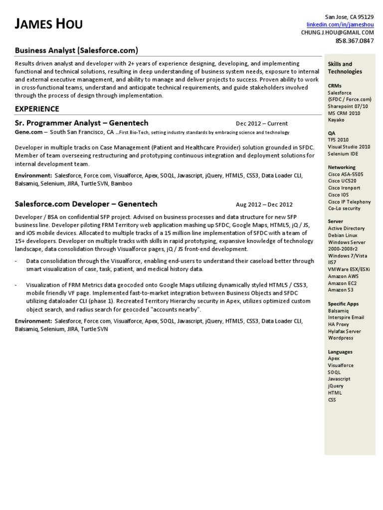 resume salesforce resume james hou salesforce com developer resume share point - Salesforce Admin Resume