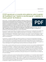 Comisiones Obreras de Andalucia. CCOO apuesta por un acuerdo entre gobiernos sobre la gestión del Guadalquivir que respete la voluntad popular y defienda el interés general de Andalucía
