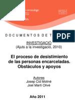 El Proceso de Desestimiento en Las Prisiones Catalanas 2010
