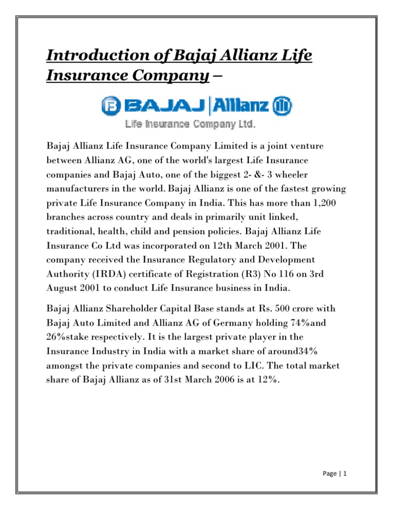Introduction Of Bajaj Allianz Life Insurance Company Welfare