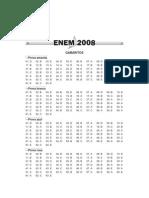 Enem2008 - Gabarito Oficial Enem 2008