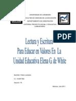Proyecto de Comunitaria, Lectura y Escritura para enseñar en valores