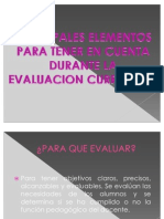 Principales Elementos Para Tener en Cuenta Durante La Evaluacion Curricular.