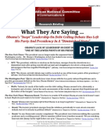 """What They Are Saying … About Obama's """"Inept"""" Leadership On The Debt Ceiling"""