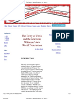 The Deity of Jesus Christ and the Jehovah's Witnesses' New World Translation