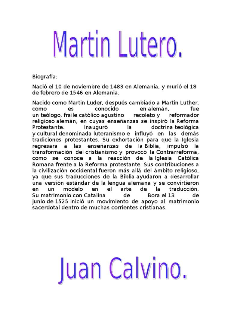 Matrimonio Catolico Protestante : Biografias de martin lutero y juan calvino