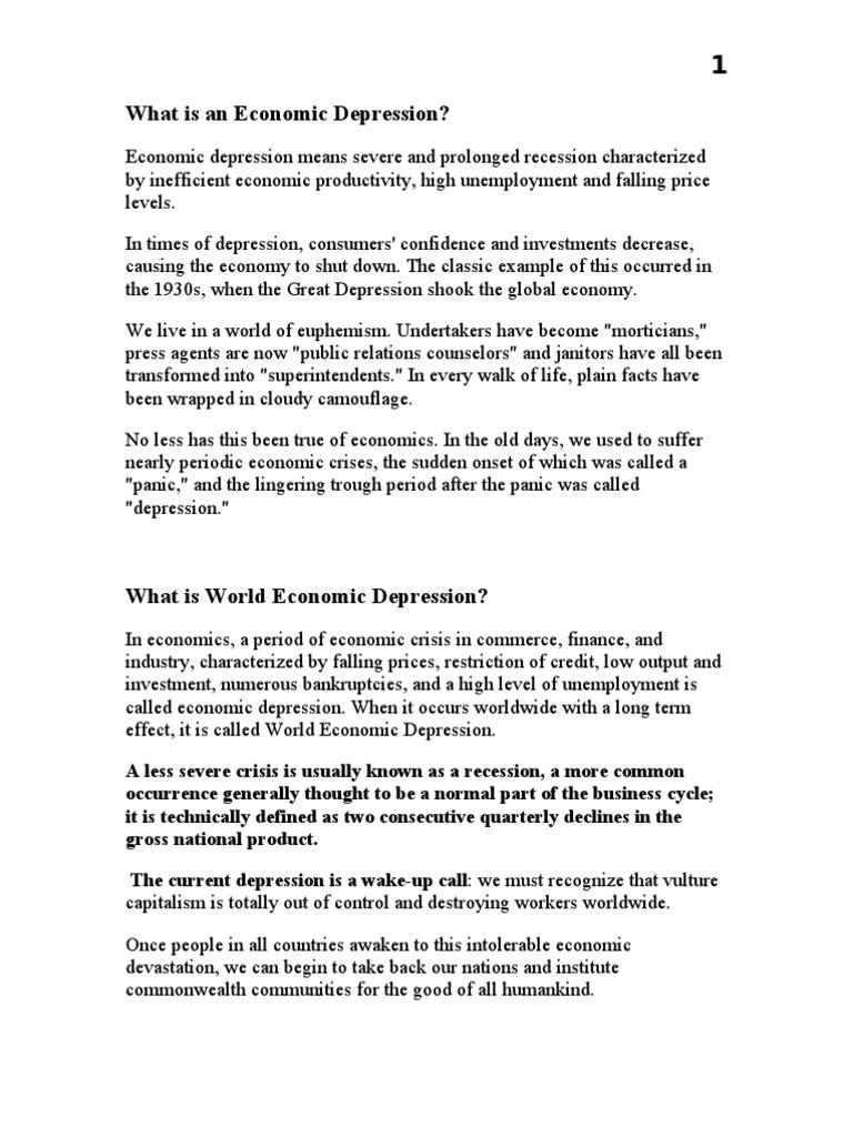 what is economic depression | recession | great depression