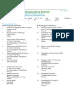 Postgraduate Institutes Recognized by PMDC