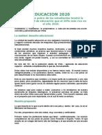MANIFIESTO EDUCACION 2020