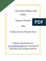 Derrida Jacques - El Monolinguismo Del Otro