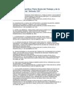 Constitución política Titulo Sexto del Trabajo y de la Previsión Social