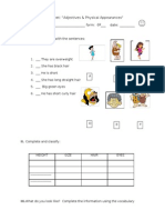Physical Appearance Worksheet