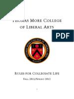 Thomas More College Rules for Collegiate Life