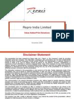 Repro India Limited Marketing Presentation