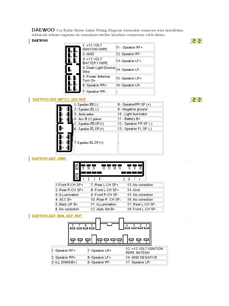 daewoo car radio stereo audio wiring diagram rh scribd com daewoo lanos wiring diagram radio daewoo nubira radio wiring diagram