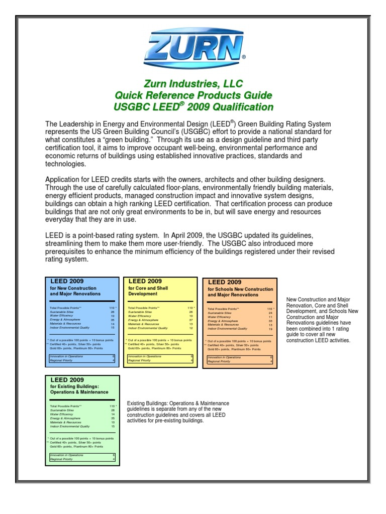 Zurn Leed Credit Guide Aug09 Leadership In Energy And
