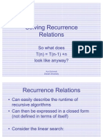Recurrence Relations Substitution
