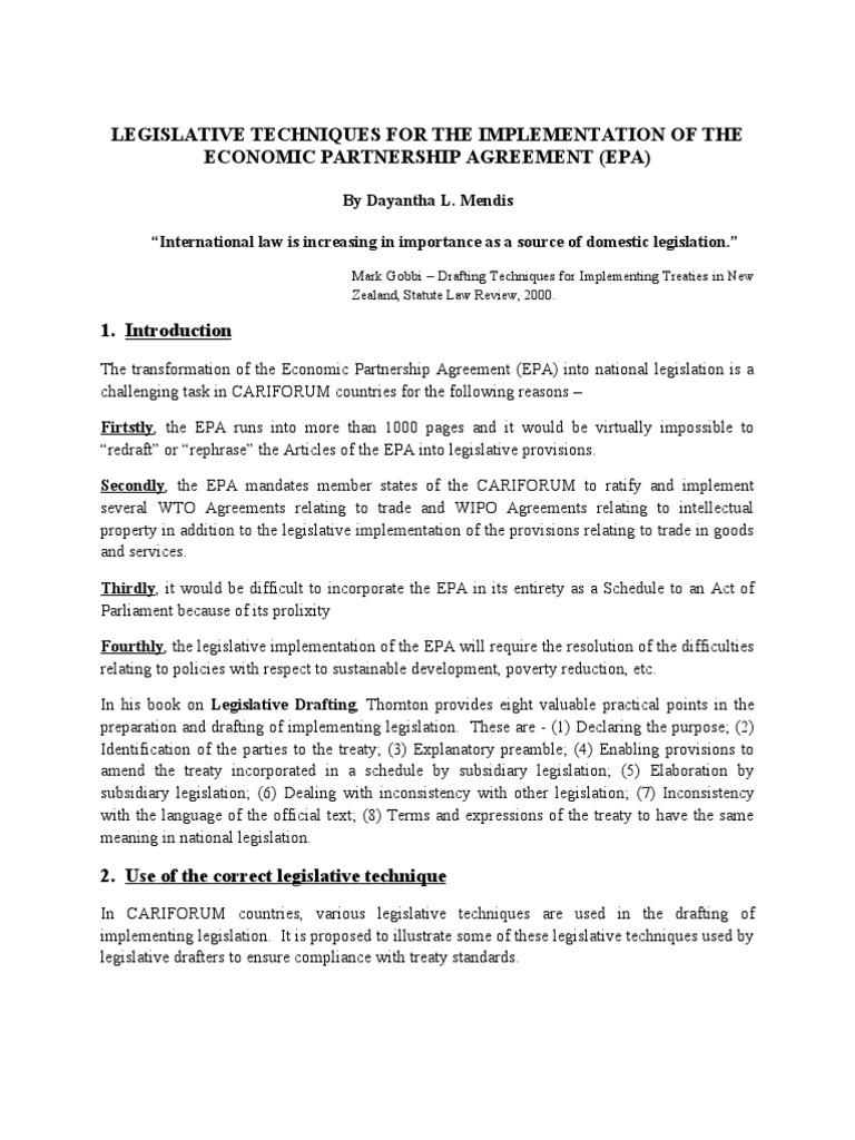 Legislative Techniques Seminar Paper Treaty Act Of Parliament