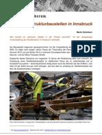 Infrastrukturbaustellen in Innsbruck