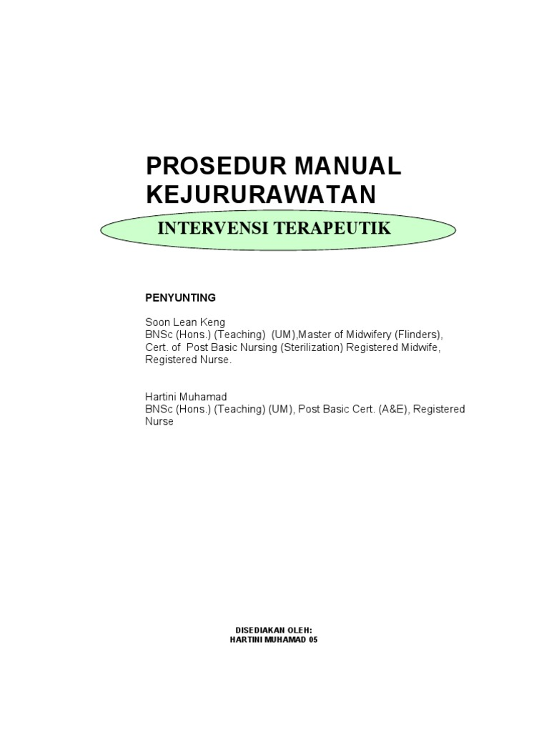 manual kejururawatan intervensi terapeutik rh es scribd com Pengertian Prosedur Manual Prosedur Kerja