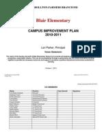 2010-2011 Campus Improvement Plan - Blair