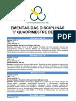 ementa disciplinas 3º quad. 2011