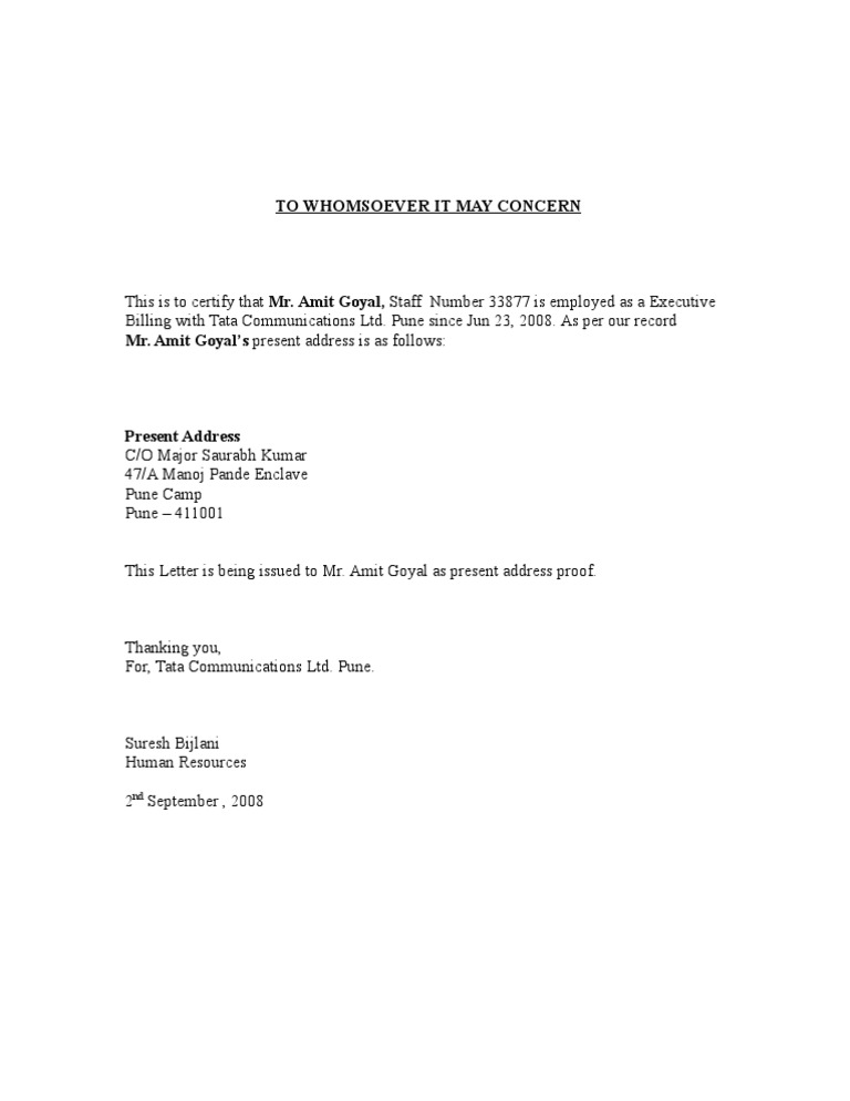 letter template proof of address  Certification Letter For Address Proof ] - 12 proof of ...