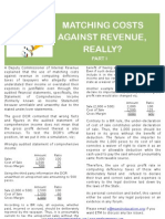 Matching Cost Against Revenue