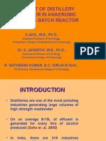 Treatment of Distillery Spentwash in ASBR