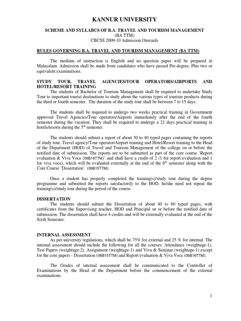 SCHEME AND SYLLABUS OF B A  TRAVEL AND TOURISM MANAGEMENT