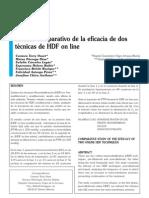 Estudio comparativo de la eficacia de dostécnicas de HDF on line