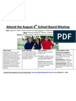Poster - Attend the August 4th School Board Meeting