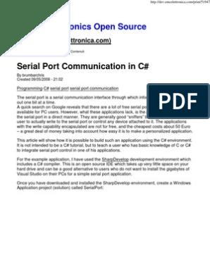 Serial Port Communication in C#   Integrated Development