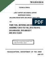 Fuel Metering Pump Maint and Repair TM9-2910-226-34