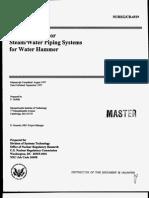Screening Reactor for Water Hammer