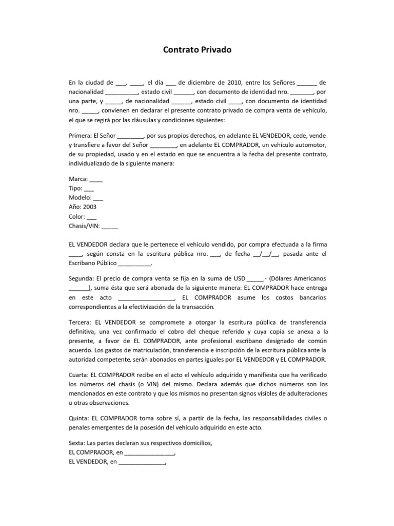 Contrato privado compra venta de vehiculo usado for Clausula suelo firma acuerdo privado