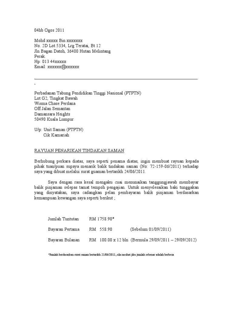 Contoh Surat Rasmi Tuntutan Bayaran Liga Mx C