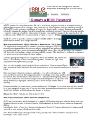 How to Bypass or Remove a Bios Passwo | Bios | Password