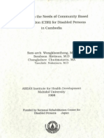Reseach on the Needs of Community Based Rehabilitation (CBR) for Disabled Persons in Cambodia