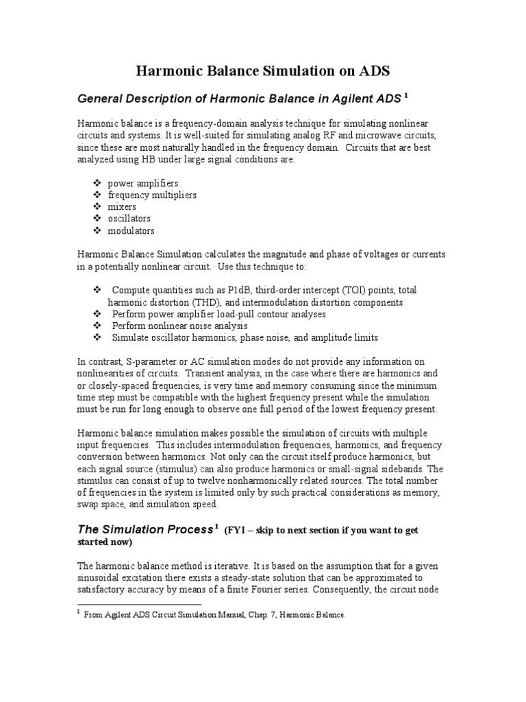 ADS Harmonic Balance w03 | Electrical Impedance | Distortion