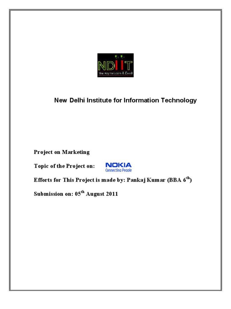 Project On Marketing Strategy Of Nokia Mobile Phones 9300 Service Manual