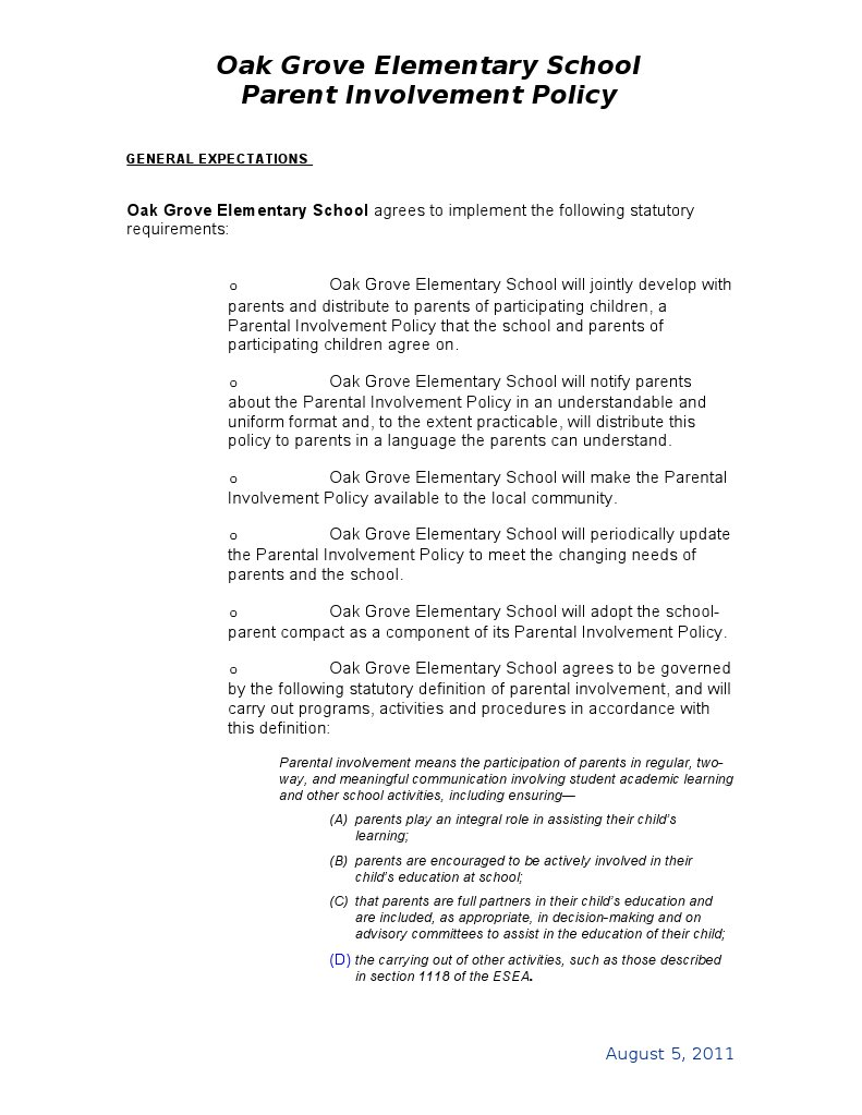 parental involvement policy 09-10 | elementary and secondary