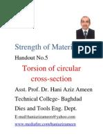 Strength of Materials- Torsion of Circular Cross Section- Hani Aziz Ameen