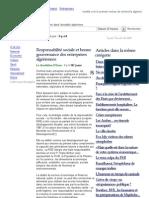 Responsabilité sociale et bonne gouvernance des entreprises algériennes -