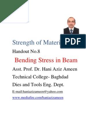 Strength of Materials- Bending Stress in Beam- Hani Aziz