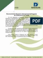 RECONOCIMIENTO NACIONAL E INTERNACIONAL DEL PROGRAMA DE LA DEFENSORÍA DEL TURISTA