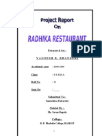 RADHIKA Restaurant MBA Project Report Prince Dudhatra