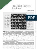 Creating Integral Prayers and Meditations.july 2011