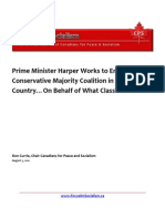 Prime Minister Harper Works to Entrench a Conservative Majority Coalition in the Country…On Behalf of What Class?